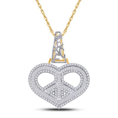 10kt Yellow Gold Mens Baguette Diamond Heart Peace Sign Charm Pendant 1 Cttw