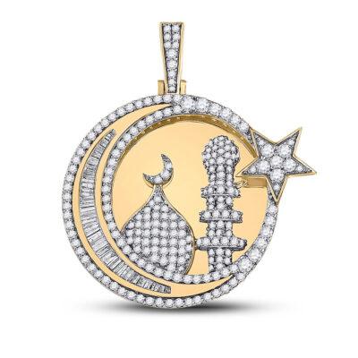 10kt Yellow Gold Mens Baguette Diamond Islam Crescent Moon Charm Pendant 2-3/8 Cttw