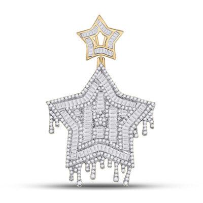 10kt Yellow Gold Mens Baguette Diamond Star Dripping Charm Pendant 2-3/4 Cttw