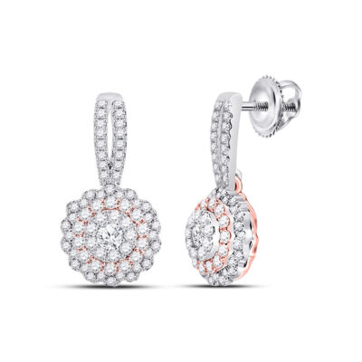 14kt Two-tone Gold Womens Round Diamond Dangle Earrings 1 Cttw