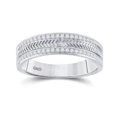 14kt White Gold Mens Round Diamond Wedding Wheat Texture Band Ring 1/3 Cttw