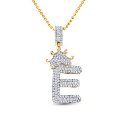 10kt Yellow Gold Mens Baguette Diamond Crown E Letter Charm Pendant 3/4 Cttw