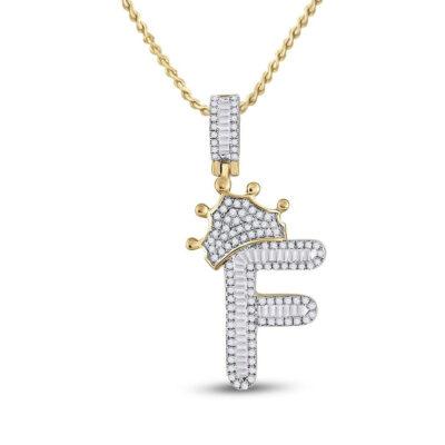 10kt Yellow Gold Mens Baguette Diamond Crown F Letter Charm Pendant 5/8 Cttw