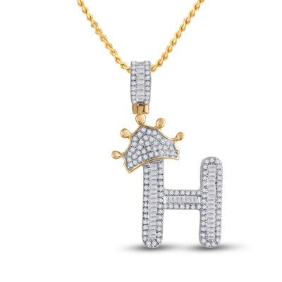 10kt Yellow Gold Mens Baguette Diamond Crown H Letter Charm Pendant 5/8 Cttw