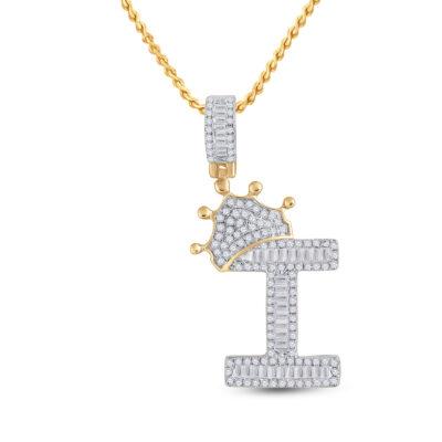10kt Yellow Gold Mens Baguette Diamond Crown I Letter Charm Pendant 5/8 Cttw