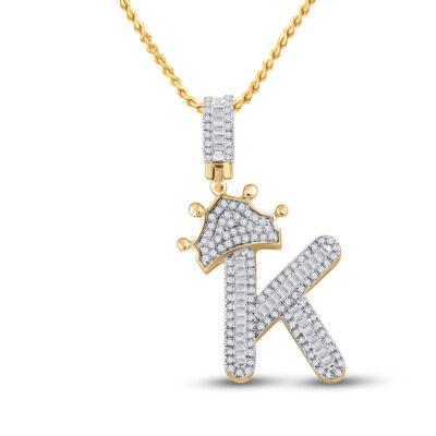 10kt Yellow Gold Mens Baguette Diamond Crown K Letter Charm Pendant 5/8 Cttw