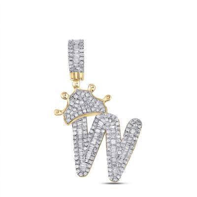 10kt Yellow Gold Mens Baguette Diamond Crown W Letter Charm Pendant 7/8 Cttw