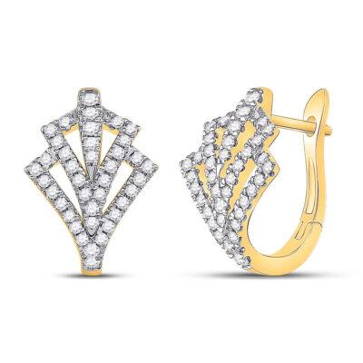 14kt Yellow Gold Womens Round Diamond Hoop Earrings 1/2 Cttw