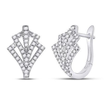 14kt White Gold Womens Round Diamond Hoop Earrings 1/2 Cttw