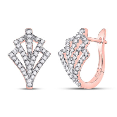 14kt Rose Gold Womens Round Diamond Hoop Earrings 1/2 Cttw