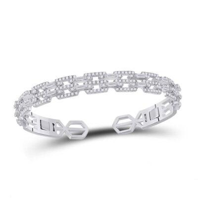 14kt White Gold Womens Baguette Diamond Bangle Bracelet 2-1/2 Cttw