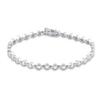 14kt White Gold Womens Round Diamond Tennis Bracelet 1-3/4 Cttw