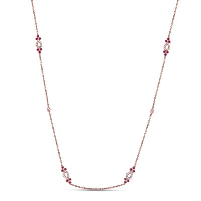 14kt Rose Gold Womens Round Ruby Diamond Fashion Necklace 1/2 Cttw