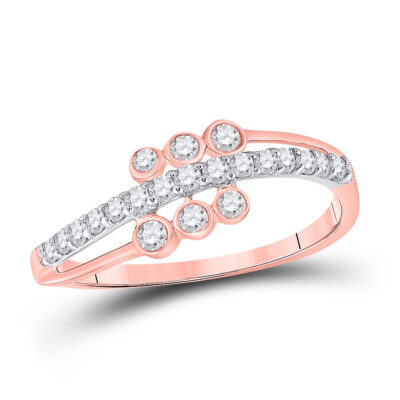 10kt Two-tone Gold Womens Round Diamond Band Ring 1/3 Cttw