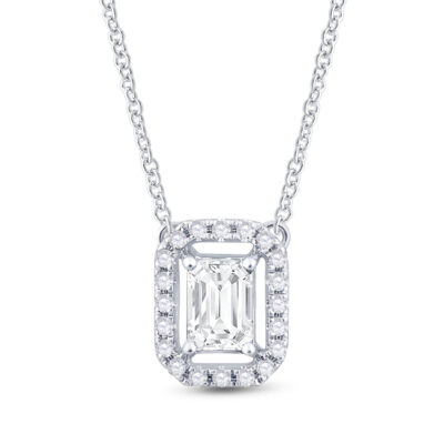 14kt White Gold Womens Emerald Diamond Solitaire Necklace 5/8 Cttw