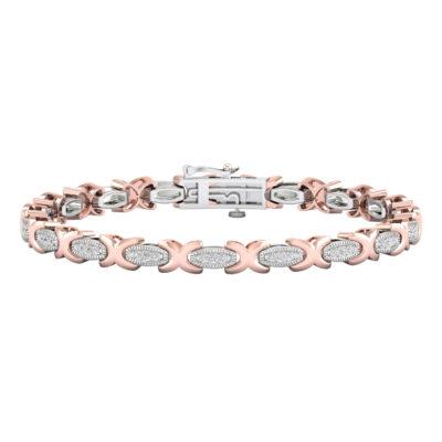 10kt Two-tone Gold Womens Round Diamond Link Bracelet 1/2 Cttw