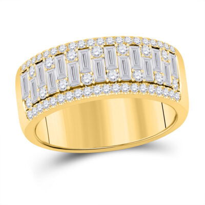 14kt Yellow Gold Mens Baguette Round Diamond Band Ring 1-1/4 Cttw