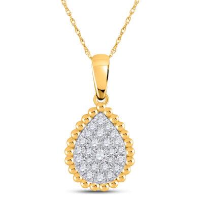 10kt Yellow Gold Womens Round Diamond Teardrop Cluster Pendant 1/8 Cttw