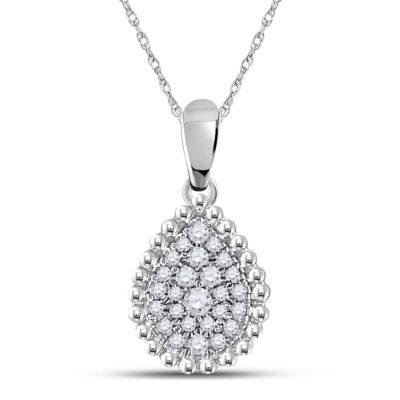 10kt White Gold Womens Round Diamond Teardrop Cluster Pendant 1/8 Cttw