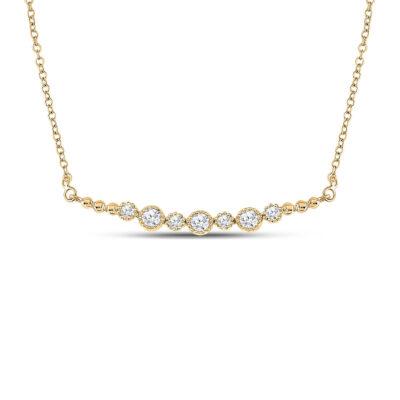 14kt Yellow Gold Womens Round Diamond Bezel Bar Necklace 1/3 Cttw