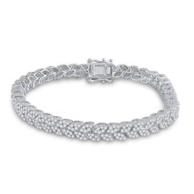14kt White Gold Womens Round Diamond Fashion Bracelet 3-5/8 Cttw