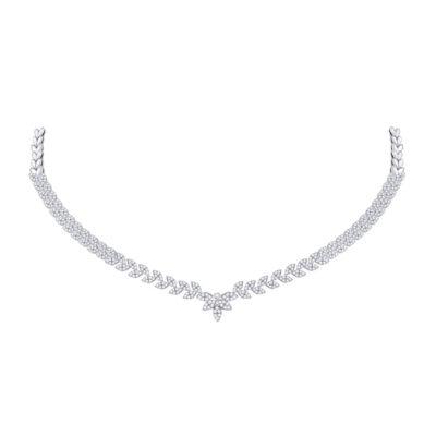 14kt White Gold Womens Round Diamond Luxury Fashion Necklace 3 Cttw