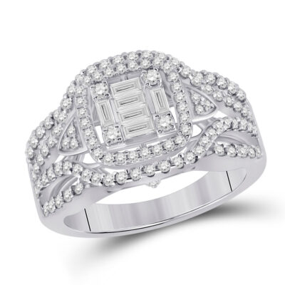 14kt White Gold Womens Baguette Diamond Square Fashion Ring 1 Cttw