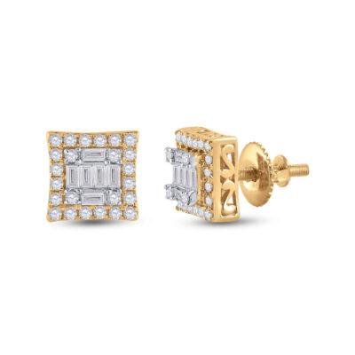 14kt Yellow Gold Womens Baguette Diamond Square Earrings 1/2 Cttw