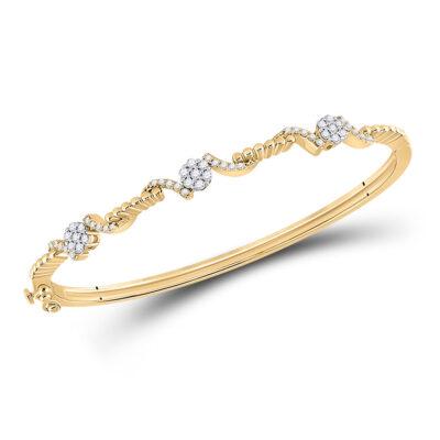 14kt Yellow Gold Womens Round Diamond Bangle Bracelet 1/2 Cttw