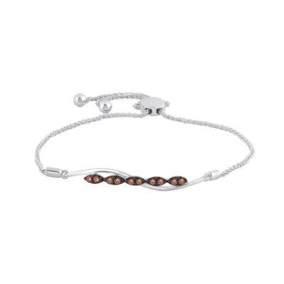 10kt White Gold Womens Round Brown Diamond Bolo Bracelet 1/4 Cttw