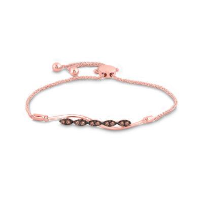 10kt Rose Gold Womens Round Brown Diamond Bolo Bracelet 1/4 Cttw