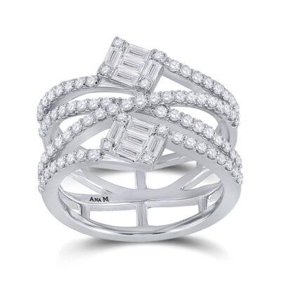 14kt White Gold Womens Baguette Diamond Spiral Fashion Ring 1 Cttw