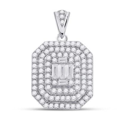 14kt White Gold Womens Baguette Diamond Cluster Pendant 7/8 Cttw