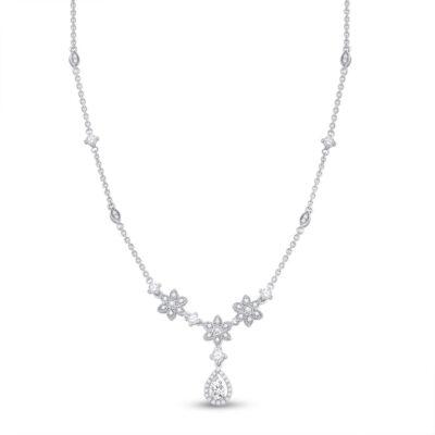 14kt White Gold Womens Pear Diamond Flower Teardrop Necklace 7/8 Cttw