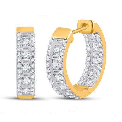 14kt Yellow Gold Womens Round Diamond Hoop Earrings 1 Cttw