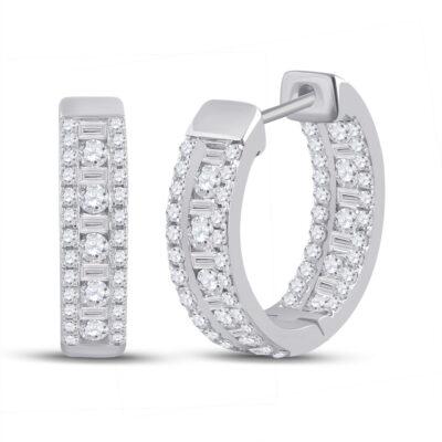 14kt White Gold Womens Round Diamond Hoop Earrings 1 Cttw