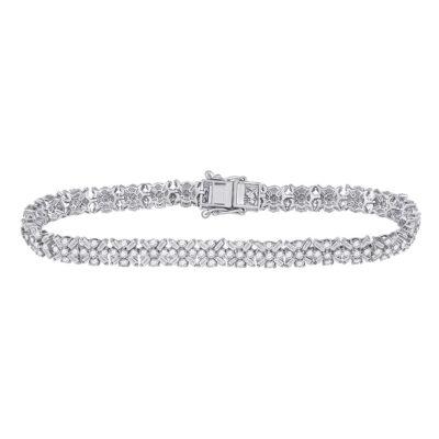 14kt White Gold Womens Round Diamond Tennis Bracelet 4-1/3 Cttw