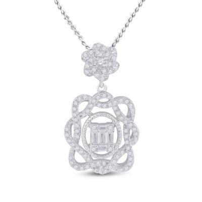 14kt White Gold Womens Baguette Diamond Dangle Oval Pendant 3/8 Cttw