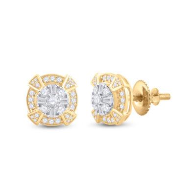 14kt Yellow Gold Mens Baguette Diamond Circle Cluster Earrings 3/4 Cttw