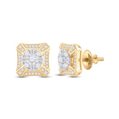 14kt Yellow Gold Mens Baguette Diamond Square Cluster Earrings 3/4 Cttw