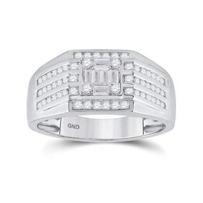 14kt White Gold Mens Baguette Diamond Square Ring 3/4 Cttw