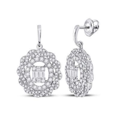 14kt White Gold Womens Baguette Diamond Oval Dangle Earrings 1 Cttw