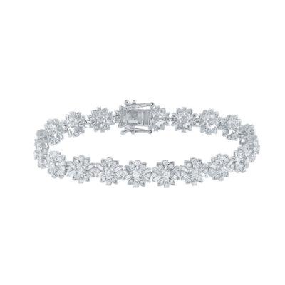 14kt White Gold Womens Baguette Diamond Flower Fashion Bracelet 4 Cttw