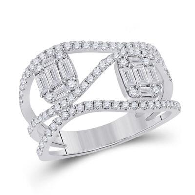 14kt White Gold Womens Baguette Diamond Fashion Ring 1 Cttw