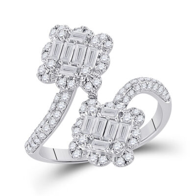 14kt White Gold Womens Baguette Diamond Bypass Fashion Ring 1 Cttw