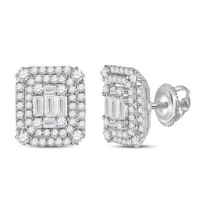 14kt White Gold Womens Baguette Diamond Cluster Earrings 1-1/5 Cttw
