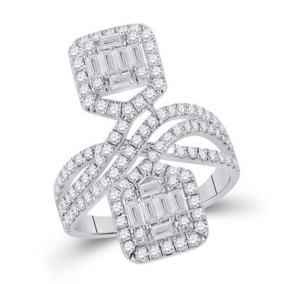 14kt White Gold Womens Baguette Diamond Fashion Ring 1-1/2 Cttw