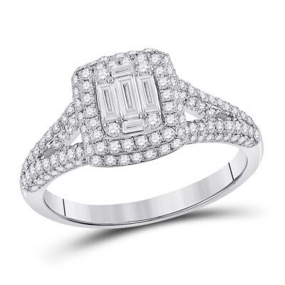 14kt White Gold Womens Baguette Diamond Square Cluster Ring 1 Cttw