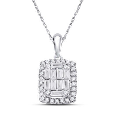 14kt White Gold Womens Baguette Diamond Fashion Pendant 1/2 Cttw