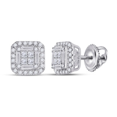 14kt White Gold Womens Baguette Diamond Square Earrings 1/2 Cttw